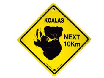 Plastic Road Sign - Koalas Next 10km (Medium)