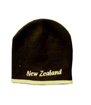 Beanie - New Zealand - Black with White and Grey Print