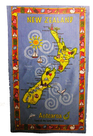 Tea Towel - New Zealand Map with Kiwi Icons