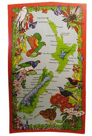 Tea Towel - New Zealand Map with Native Birds
