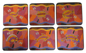 Aboriginal Art Coasters - Assorted Animals (Set of 6)