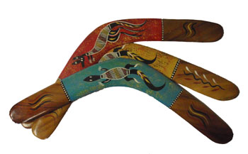 Boomerang - Hand Painted Animal Xhatch (18in)