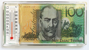 Fridge Magnet with Thermometer - Australian $100 Dollar Note