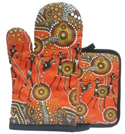 Aboriginal Oven Mitt and Pot Set - Land