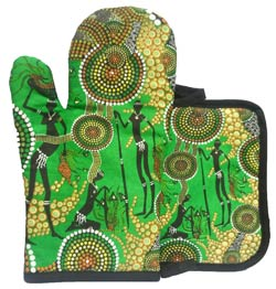 Aboriginal Oven Mitt and Pot Set - Rainforest