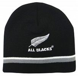 All Blacks Beanie with Grey/White stripe