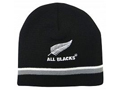 All Blacks Beanie with Grey/White stripe