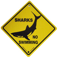Plastic Road Sign - Sharks No Swimming (Medium)