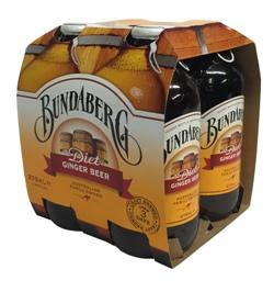 Bundaberg Diet Ginger Beer Stubby (4 x 375ml bottles)