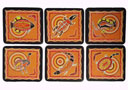 Aboriginal Art Coasters - Assorted Animals Orange & Black (Set of 6)