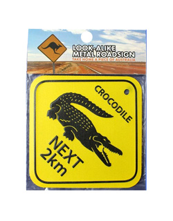 Metal Road Sign - Crocodiles Next 2km (Large)