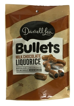 Darrell Lea Milk Chocolate Liquorice Bullets (200g)