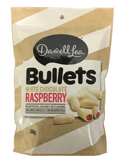 Darrell Lea White Chocolate Raspberry Bullets (200g)