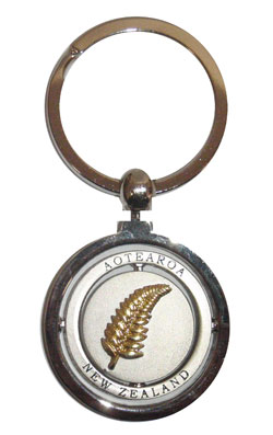 Keyring Spinner Double Circle Fern