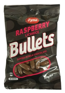 Fyna Licorice Chocolate Raspberry Bullets (250g)