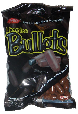 Fyna Licorice Milk Chocolate Bullets (250g)