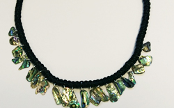 Natural Paua Macrame and Paua Piece Necklace