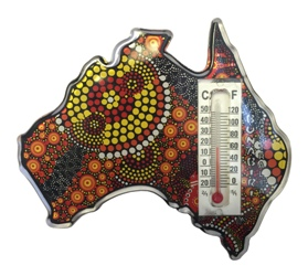 Fridge Magnet with Thermometer - Australian Map - Aboriginal