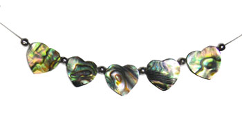 Natural Paua 5 Piece Heart Necklace