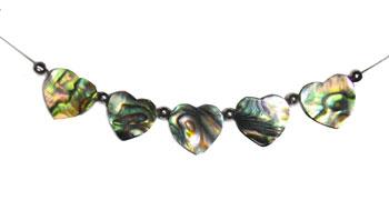 Natural Paua 5 Piece Heart Necklace