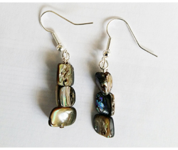 Natural Paua 3 Nugget Earrings