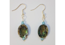 Natural Paua Oval and Swarovski Earrings