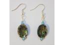 Natural Paua Oval and Swarovski Earrings