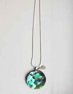 Natural Paua Disc & Double Koru Necklace