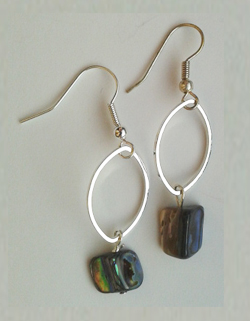 Natural Paua Nugget Oval Earrings