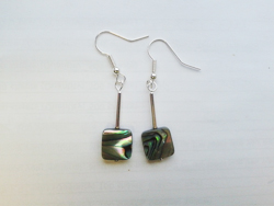 Natural Paua Square Earrings