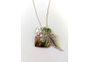 Natural Paua Rectangle and Fern Necklace