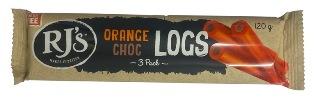 RJs Orange Choc Logs (120g)
