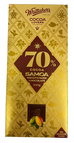Whittakers Cocoa Lovers Collection - 70% Cocoa Samoa Chocolate (100g)
