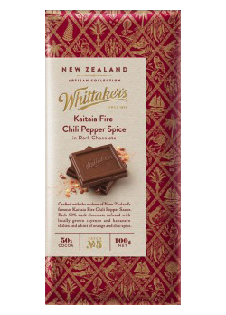 Whittakers Artisan Collection Kaitaia Fire Chili Pepper Spice in Dark Chocolate (100g)